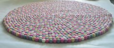Pink Five color felt ball rug in various size by feltnyarn on Etsy, $198.00