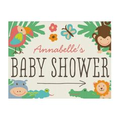 In the Jungle Baby Shower Yard Sign Lawn Sign Baby Shower Flowers, Floral Baby Shower, Puppy Nursery, Cute Baby Cow, Custom Yard Signs, Birth Announcement Sign, Sign Display, Baby Shower Themes, Shower Ideas