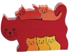 This 6pc hand-crafted Cat Family puzzle stands up to brighten any room.   As beautiful to look at as it is fun to play with!  Children play with the pieces like a playset, then put them together to form a puzzle, then display on a shelf to admire.  Great first puzzle. Made from plantation-grown rubberwood, an environmentally-friendly hardwood.  Ages 3+