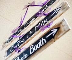 Reclaimed Wood Signs with Chalkboard Fabric lettered with chalk marker