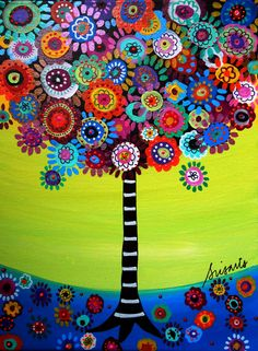 Folk Art Prints | Mexican Folk Art Tree of Life Bar Bat Mitzvah Painting PRINT