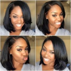 Love this cut ! Hairstyle for dark skin, 3bundles+closure straight full sew in hair weave from Chiuin Hair . are you looking for this to your next style , girls ? Now purchase : Google searching ...