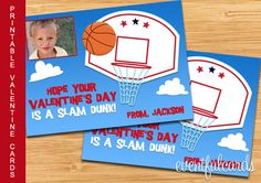 Printable Basketball Valentines Day Cards for Kids