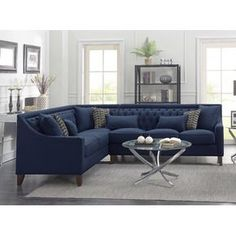 Iconic Home Aberdeen Linen Tufted Left Facing Sectional Sofa Grey is part of Contemporary Living Room Sectional - Depth (Sofa Side) 34 Tufted Sectional Sofa, Living Room Sectional, Living Room Furniture, Home Furniture, Living Room Decor, Gray Sectional, Large Sectional, Leather Sectional, Black Furniture
