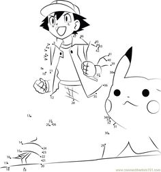 Download or print Great Pokemon dot to dot printable worksheet from Cartoons,Pokemon connect the dots category.