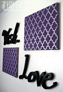 Quatrefoil canvas-  I'm not sure mine would turn out looking this good, but I might have to try someday!