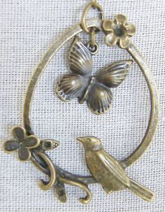 Birds & Butterfly necklace