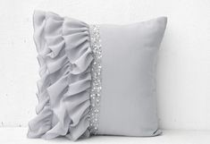 Silver grey pillow covers, Georgette pillow, Ruffled sequin pillow, Silver sequin cushion, Home deco Silver Pillows, Grey Throw Pillows, Grey Cushions, Sofa Pillows, Throw Pillow Covers, Decor Pillows, Pillow Cases, Accent Pillows, Cushion Pillow