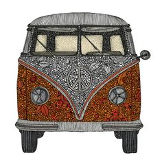"- Product: decal of classic VW bus with ornate floral pattern - Sizes: S-11""w x 11.5""h; M-14.75""w x 15""h; L-39.5""w x 41""h - Colors: orange, red, grey, black, white - Style: intricately-detailed, color"