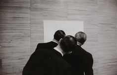 Three men in front of diagram - Rolf Gillhausen, ca. 1950.