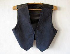 Dark Blue Womens Vest Suede Leather Western by ThousandVests
