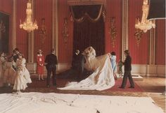 Princess Diana gets ready on her wedding day in 1981 in a stunning white gown