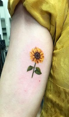 Chic Sunflower Tattoos Ideas That Will Inspire You To Get Inked – foot tattoos for women Watercolor Sunflower Tattoo, Sunflower Tattoo Sleeve, Sunflower Tattoo Shoulder, Sunflower Tattoo Small, Sunflower Tattoos, Sunflower Tattoo Design, Watercolor Tattoos, Abstract Watercolor, Orchid Flower Tattoos