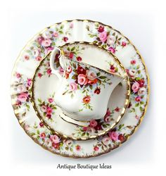 Mid Century Royal Albert Teacup Trio Cottage Garden English Bone China Tea Cup Trio Floral Decor Cottage Chic Coffee Cup Shabby Chic Serving