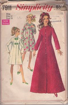 Simplicity 7911 Vintage 60's Sewing Pattern MUST SEE Mod Fit & Flared Quilted Bathrobe, Dressing Gown, Brunch Coat or Frog Toggle Nehru Collar Jacket #MOMSPatterns
