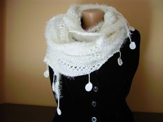 Triangled shaped all white soft scarf with tassels by MilkaKnits, $39.00