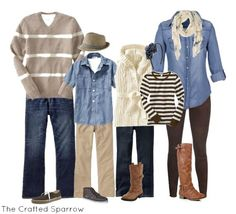 Fall family picture outfit ideas, what to wear for family photos, outfit ideas for fall pictures, denim and neutral colors, fall pictures