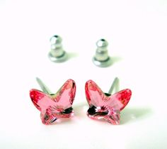 New Pink Butterfly Earrings Austrian Crystal Surgical Steel Posts Stud Sparkly #Unknown #Stud