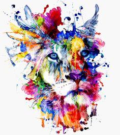 THE KING II Art Print #lion #watercolor #digital #art #artwork #abstract #society6