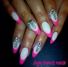 Pink french by jejanails from Nail Art Gallery