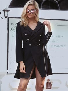 Shop Mini vestido Fashion Double-breasted Long Sleeve Mini Dress