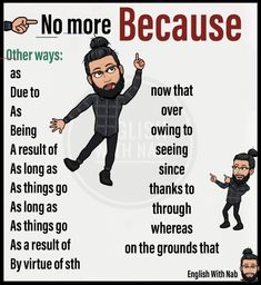 Other ways for because - Bildung Essay Writing Skills, English Writing Skills, Book Writing Tips, Writing Words, Teaching Writing, English Lessons, Act English Tips, Teaching Grammar, Study Skills