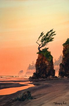 Original watercolors, oils lithographs, giclee of the Oregon Coast, Jeffrey Hull Gallery Cannon Beach, Oregon. Watercolor Sunset, Watercolor Artwork, Watercolor Artists, Watercolor Landscape, Watercolor Projects, Unique Trees, Scenic Photography, Seascape Paintings, Ocean Art