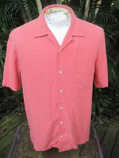 Mens shirt CASUAL SHORT SLEEVE M Pit to Pit 23 TOMMY BAHAMA silk orange  #TommyBahama #ButtonFront