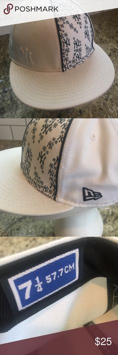 New York Yankee hat Genuine merchandise 7 1/4 Really nice new error 5950 New York Yankee hat size 7 1/4 white mint condition white logo on front Fiftynine fifty Accessories Hats