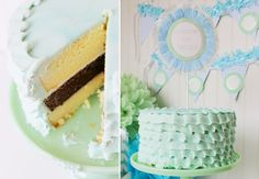 Love these colors!!!   Kate Landers Ruffled Cake Inspiration @LaylaGrayce