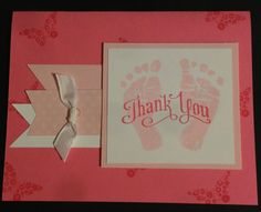 I made these adorable thank you cards for my son's teacher out of the Baby Prints stamp set from Stampin' Up!