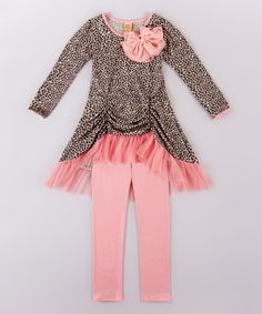 Loving this Mia Belle Baby Pink & Leopard Hi-Low Tunic & Leggings - Toddler & Girls on #zulily! #zulilyfinds