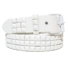 New Genuine Leather Snap On White Studded Belt ($3.45) ❤ liked on Polyvore featuring accessories, belts, snap belt, leather snap belt, genuine leather belts, leather belts and 100 leather belt