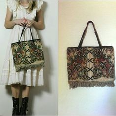 "Vintage Carpet Bag Tapestry Bohemian Tote Carpet bag handbag trimmed with fringe. Perfect summer festival bag. Faux lace up detail. Unlined. Has one interior zippered pocket. Tag: Calderon. 15"" across x 11.5"" height 