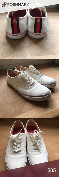 Tory Burch Sneakers These Tory Burch sneakers are just fun! Cream color with blue and red accents. The heel are scuffed but not worn away. Great condition Tory Burch Shoes Sneakers