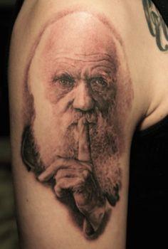 Charles Darwin Tattoo by Tom Renshaw from Michigan.