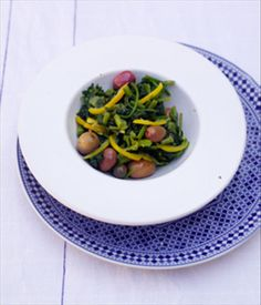 Mallow, preserved lemon & olive salad recipe by Andy Harris Olive Salad, Preserved Lemons, Vegetable Salad, Preserves, Salads, Vegetables, Cooking, Tableware, Summer