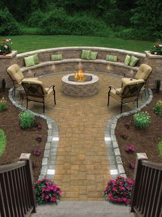 patio with firepits in the middel of round pavers area with built in seating area, chairs, and coffee table of Warming Yourself at the Back of Your House