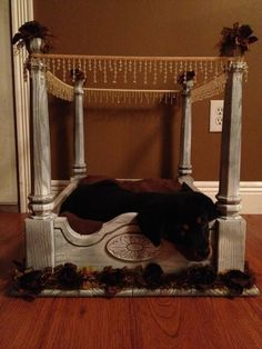 Dog bed made from end table
