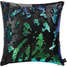 Aviva Stanoff Two Tone Mermaid Sequin Cushion - Beetle - 50x50cm ($125) ❤ liked on Polyvore featuring home, home decor, throw pillows, black, sequin throw pillow, black sequin throw pillows, mermaid home decor, black home decor and black accent pillows