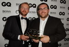 Simon Pegg and Nick Frost, winners of Comedians awards, pose backstage at the GQ Men of the Year Awards. Picture: Anthony Devlin/PA Wire