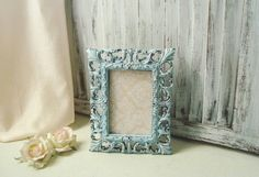 Blue 4 x 6 Picture Frame Wedding Table Number by WillowsEndCottage