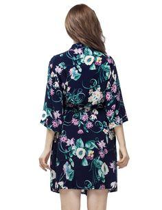 Navy Blue Short Length Women's Cotton Kimono Robe, Short Bridesmaid Robe, Bridal Shower Robe, Bridesmaid Getting Ready Robe