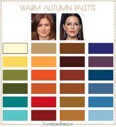 Best colors for Warm Autumn seasonal color women; Warm Autumn color palette | #WarmAutumn #colorpalette