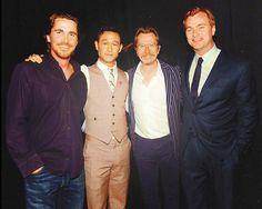 Christian Bale, Joseph Gordon-Levitt, Gary Oldman, and Christopher Nolan