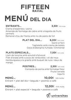 Menú del día de Fifteen Raval, en Montalegre 67, #Barcelona #comer #salir #restaurante