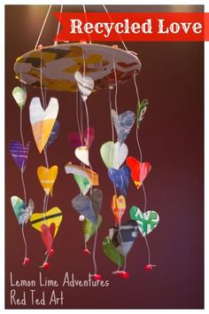 Wonderful recycled project: Magazine Heart Mobile for Valentine's Day. So cute and pretty!