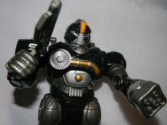HAP-P-KID TOY Black & Silver ROBOT -EYES LIGHT UP *Vintage*