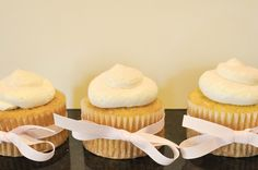 French Vanilla Cupcakes filled with Bavarian Cream and topped with Vanilla Swiss Meringue Buttercream