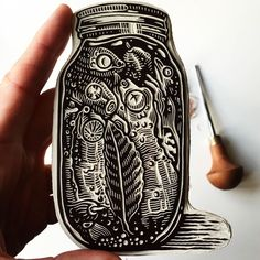 Fascinating ultra detailed carve from Tag your artwork with for account exposure and awareness. Lino Art, Stamp Carving, Stamp Printing, Screen Printing, Handmade Stamps, Linoprint, Tampons, Linocut Prints, Art Plastique